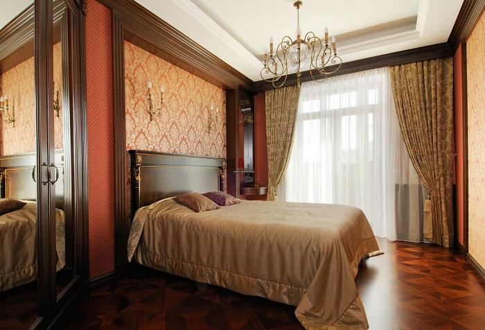коричневые обои в спальне