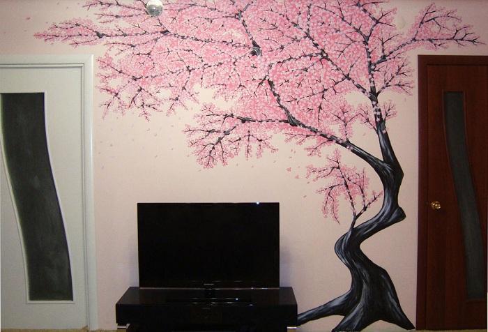 обои дерево на стене в прихожей