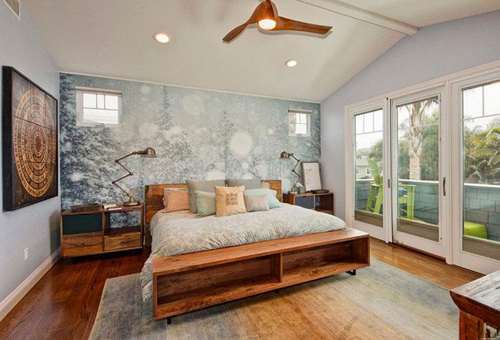 Фотообои с зимним лесом в спальне