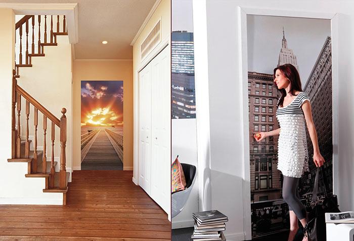 Варианты фотообоев для двери