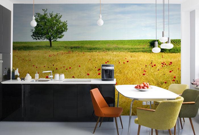 Фотообои с пейзажем на кухне