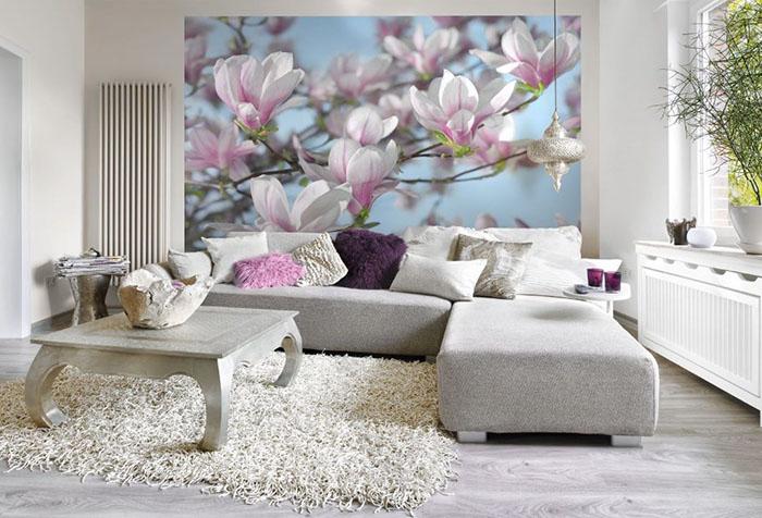Фотообои с цветами в гостиной