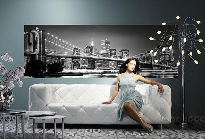 Фотообои с Бруклинским мостом в гостиной
