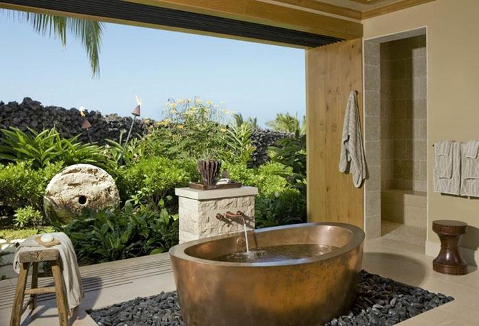 Фотообои с пейзажем в ванной