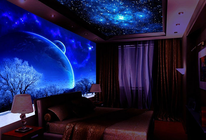Обои флуоресцентные в спальне
