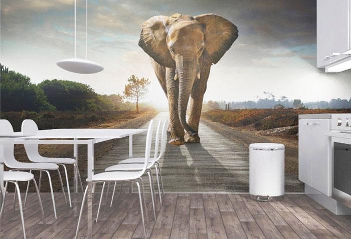 Фотообои со слоном в столовой