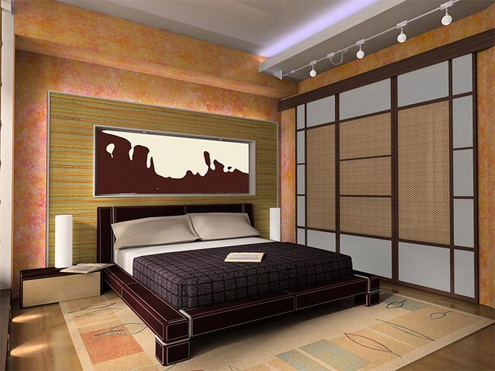 Несколько видов бамбуковых обоев в спальне