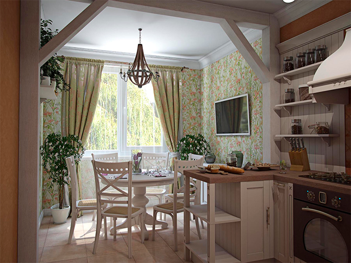 Обои с цветочнм рисунком для кухонь в стиле прованс
