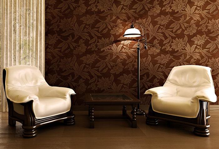 Виниловые обои коричневого цвета в гостиной