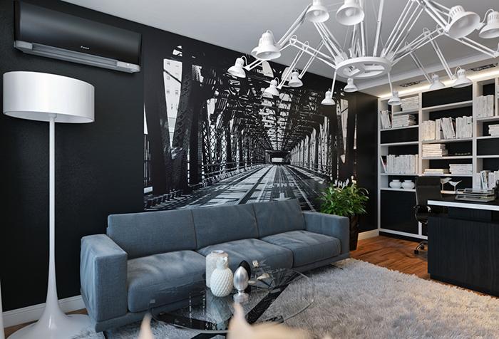 Черно-белые фотообои в гостиной