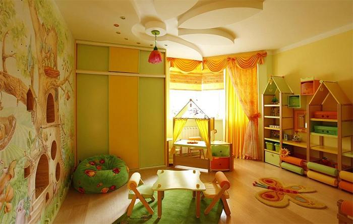 Разные виды обоев в детской комнате