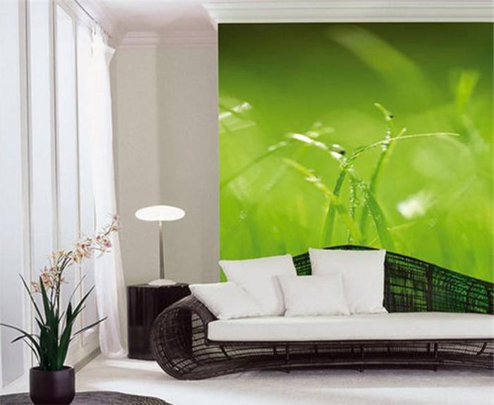 Белыц полупрозрачный тюль в сочетании с зелеными фотообями