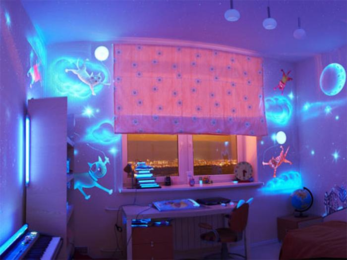 Светящиеся обои в детской комнате