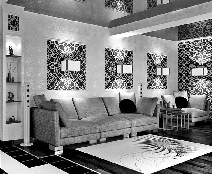 Монохромная мебель в сочетании с черно-белыми обоями в гостиной