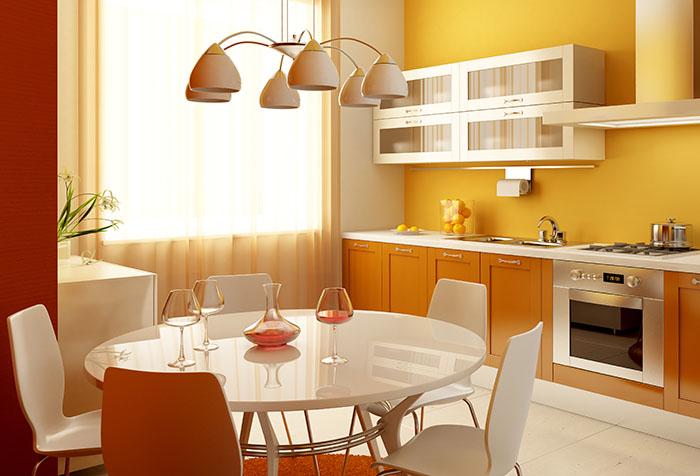 Интерьер кухни в оранжевых оттенках