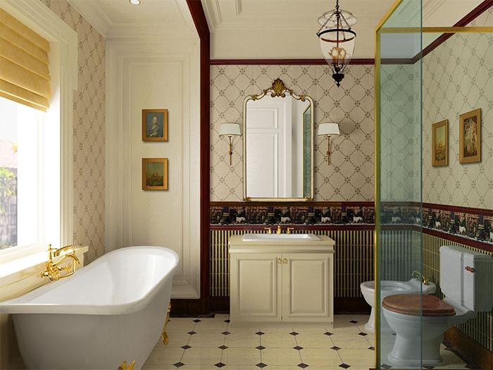 Обои в классической ванной комнате