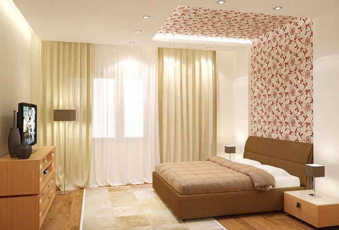 Обои с орнаментом в спальне в пастельных тонах