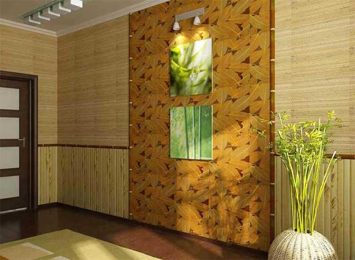 Азиатский стиль оформления стен с имитацией дерева разных пород