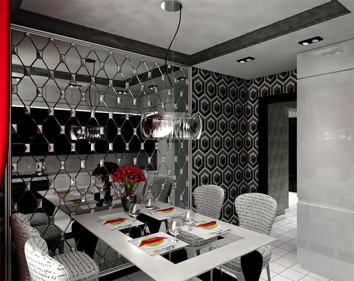 Кухня в стиле арт-деко с черно-белыми обоями