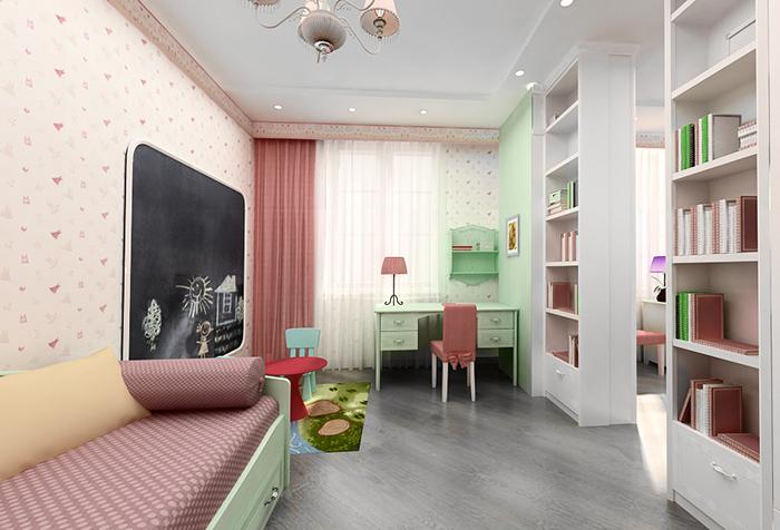 Бледно-розовые обои в комнате девочки