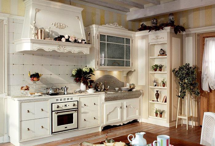 Обои в полоску на кухне в стиле прованс