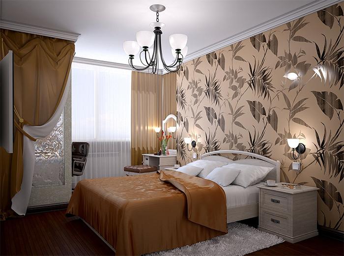 Обои с шелкографическим узором в интерьере спальни