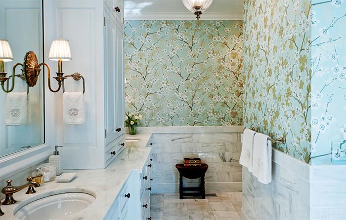Обои в стиле прованс в ванной комнате