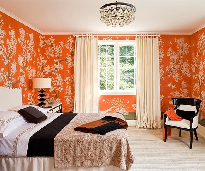 Растительный узор в интерьере спальни