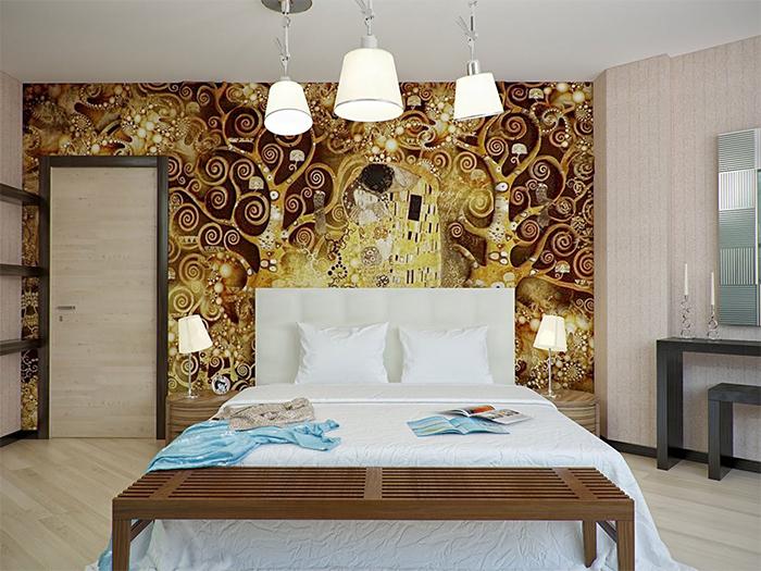 Разные цвета и фактуры обоев в спальне