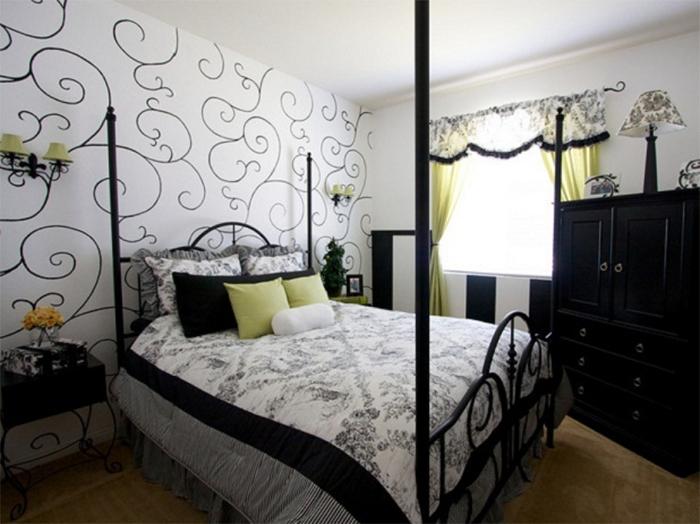 Черно-белый стильный интерьер спальни