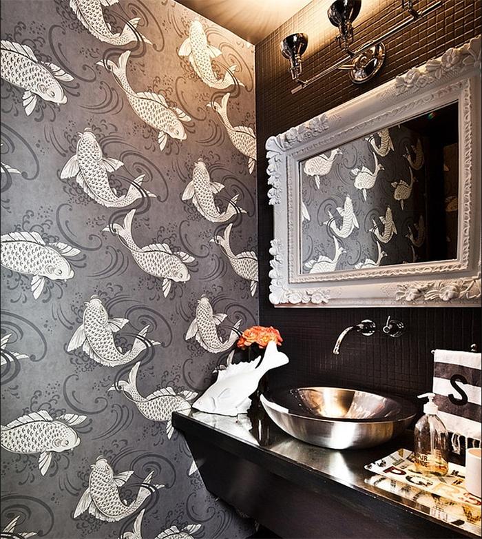 Виниловые обои в ванной комнате