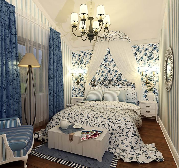Голубая спальня с обоями в стиле прованс