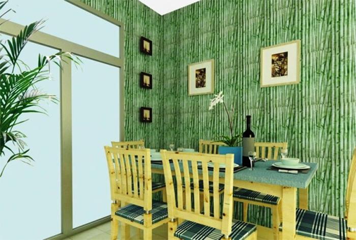 Зеленые эко обои в кухне