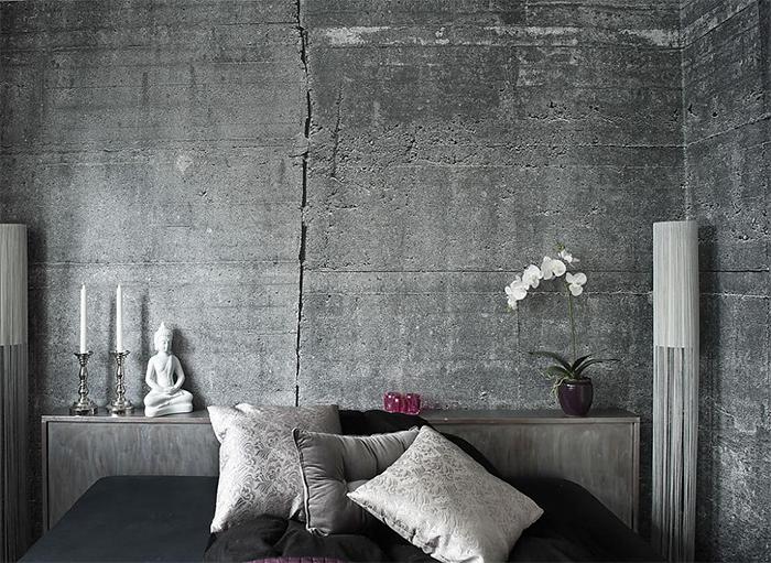 Серые обои под бетон в спальне