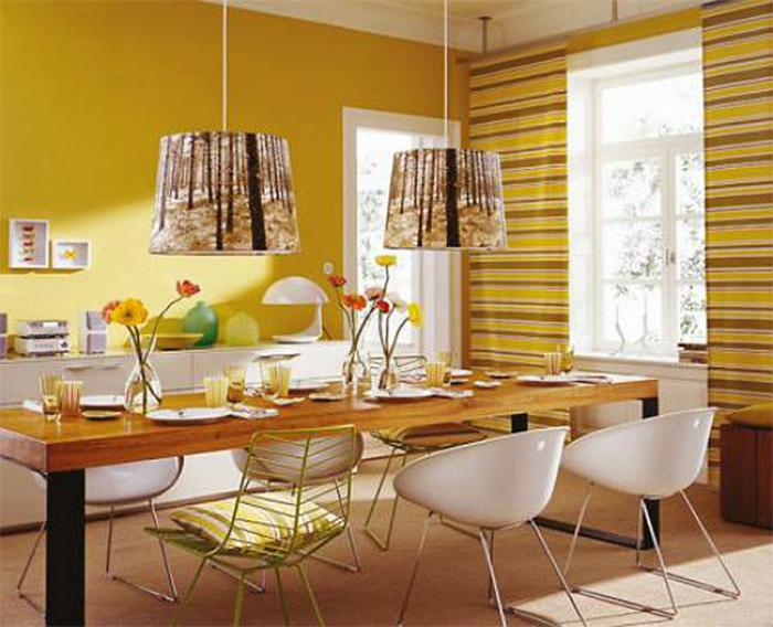 Желтые обои в интерьере  столовой
