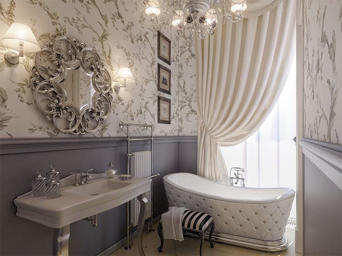 Обои с рисунком в ванной комнате