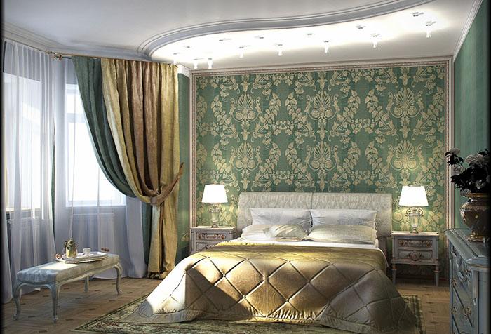 Двойные шторы в спальне с зелеными обоями