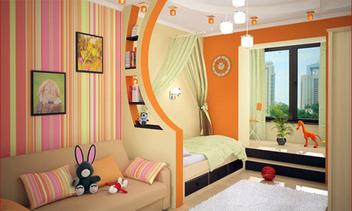 Зонирование детской комнаты однотонными  обоями