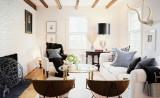 Белые стены и мебель в гостиной