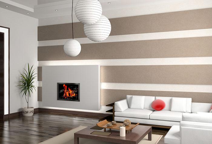 Горизонтальные полосы обоев в гостиной