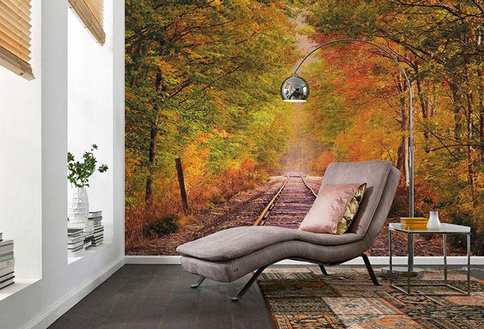 Фотообои с осенним лесом в гостиной