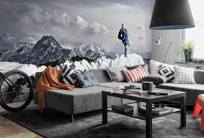 Фотообои с горным пейзажем в гостиной