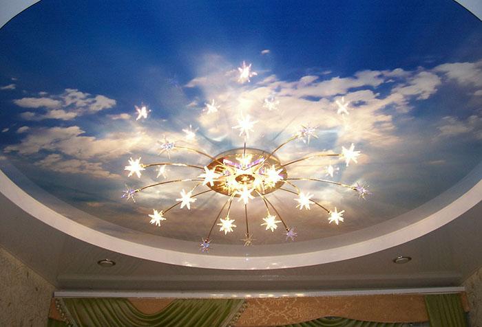 Фотообои с изображением неба на потолке