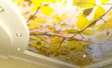Фотообои с изображением осенней листвы на потолке
