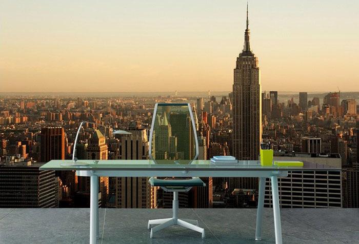 Фотообои с изображением города в кабинете