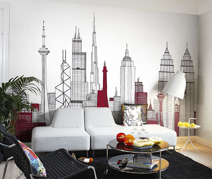 Контурные изображения зданий на фотообоях в интерьере гостиной