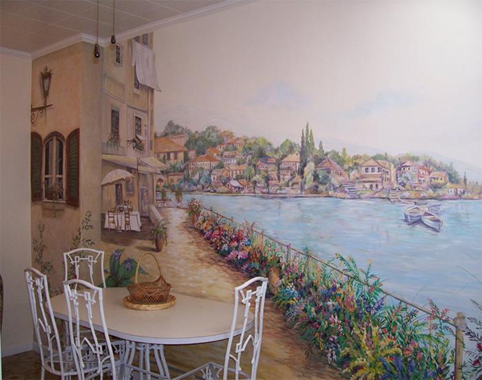 фотообои с изображением городской набережной в интерьере кухни