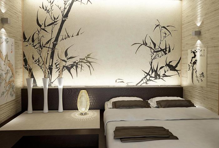 Спальня в японском стиле с росписью на стене