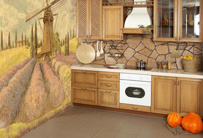 Фотообои на кухне в стиле кантри