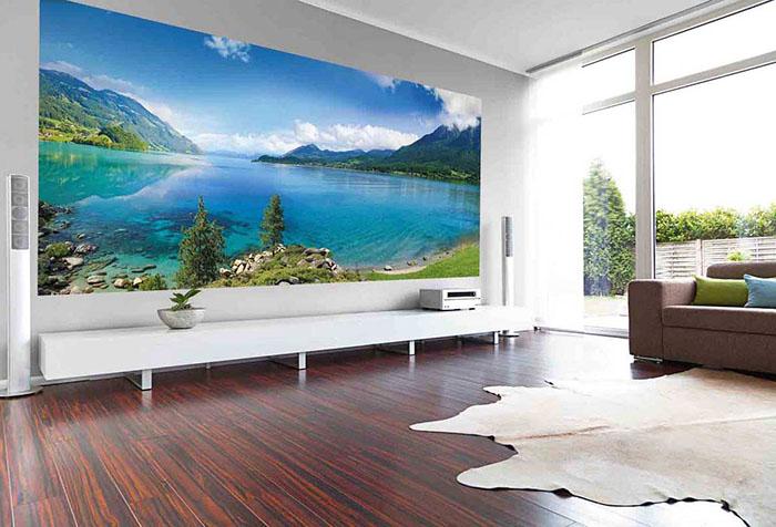 фотообои с видом пляжа в гостиной